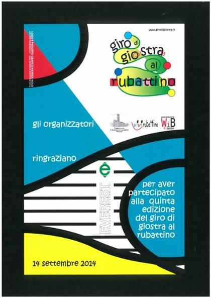 Locandina di ringraziamento del Giro di GioStra al Rubattino