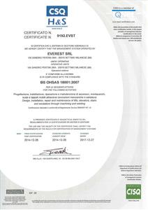 Certificato BS OHSAS 18001 del 2007